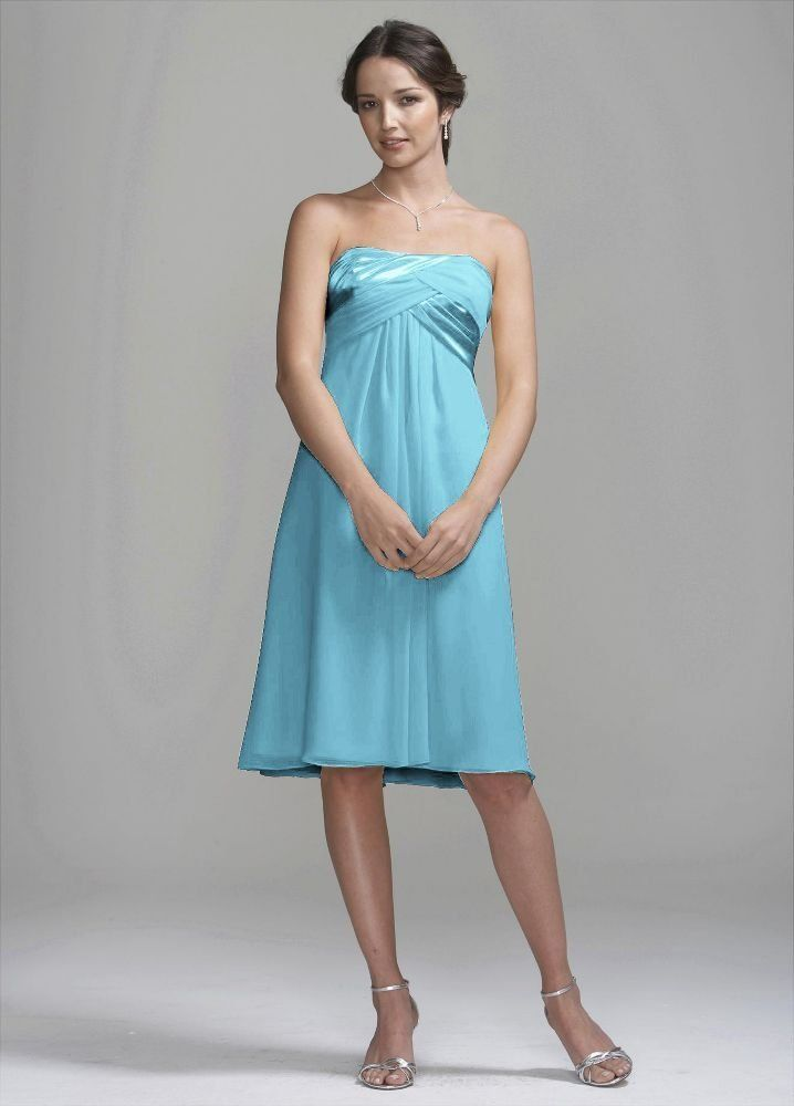 From David\'s Bridal Crinkle Chiffon Short Dress with Back Cascade ...