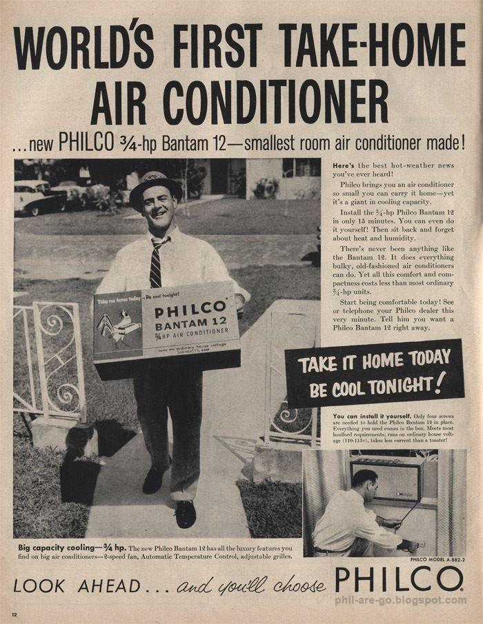 Philco Bantam 12 Air Conditioner Old Advertisements Small Room