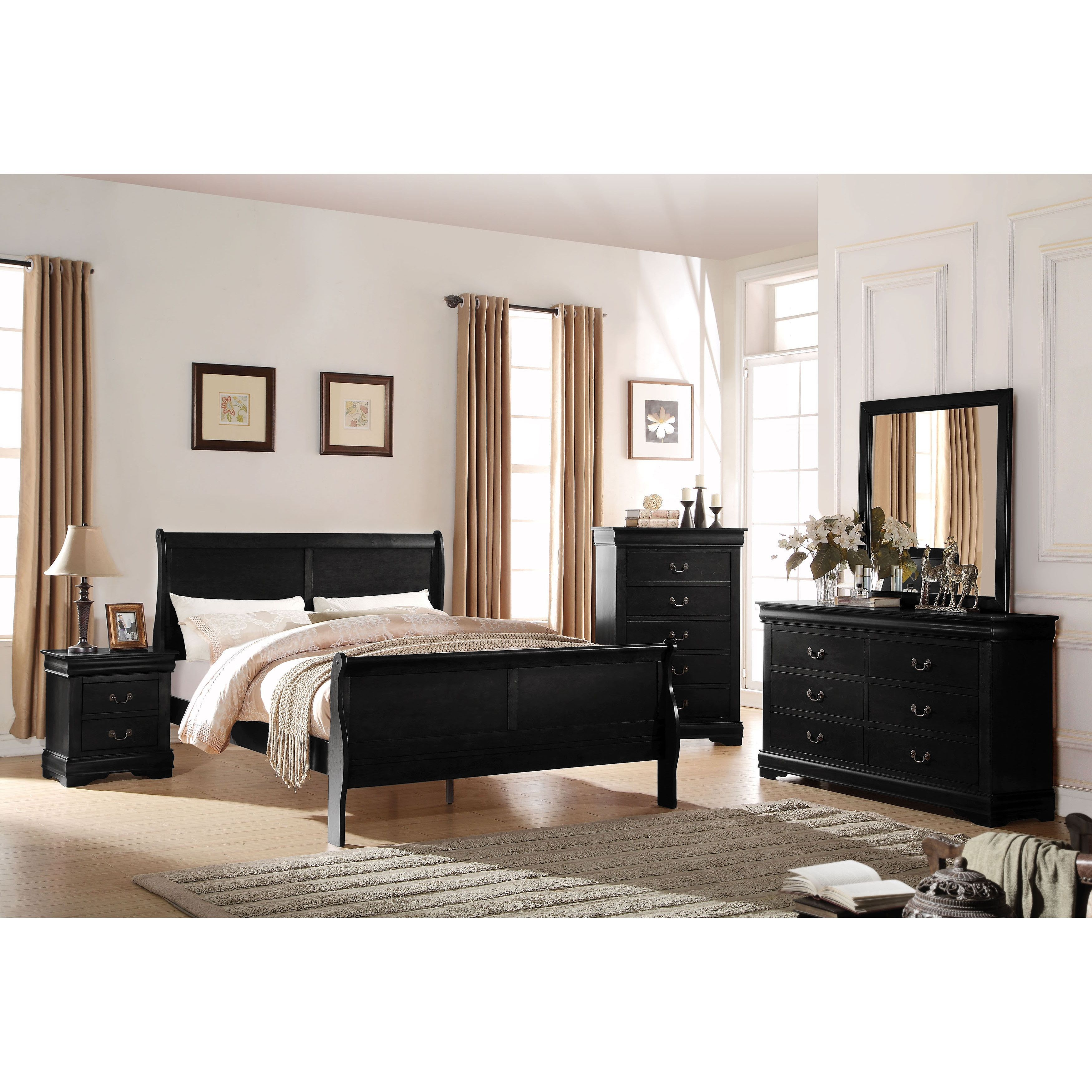 Acme Furniture Louis Philippe Black 4 Piece Sleigh Bedroom Set Full