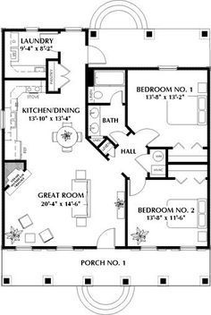 2 Bedroom 1 Bath Cottage House Plan