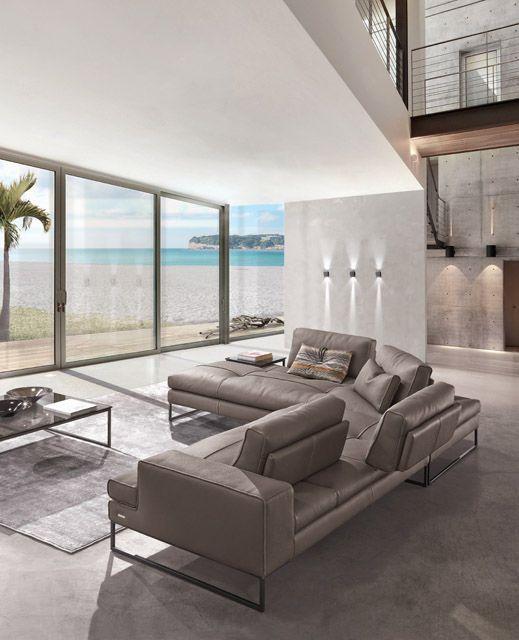 Modular sofa contemporary leather 3 seater sunset for Gamma arredamenti international