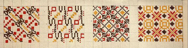 "Latvian needlework charts | ""encouraged was the development of the folk applied arts"""