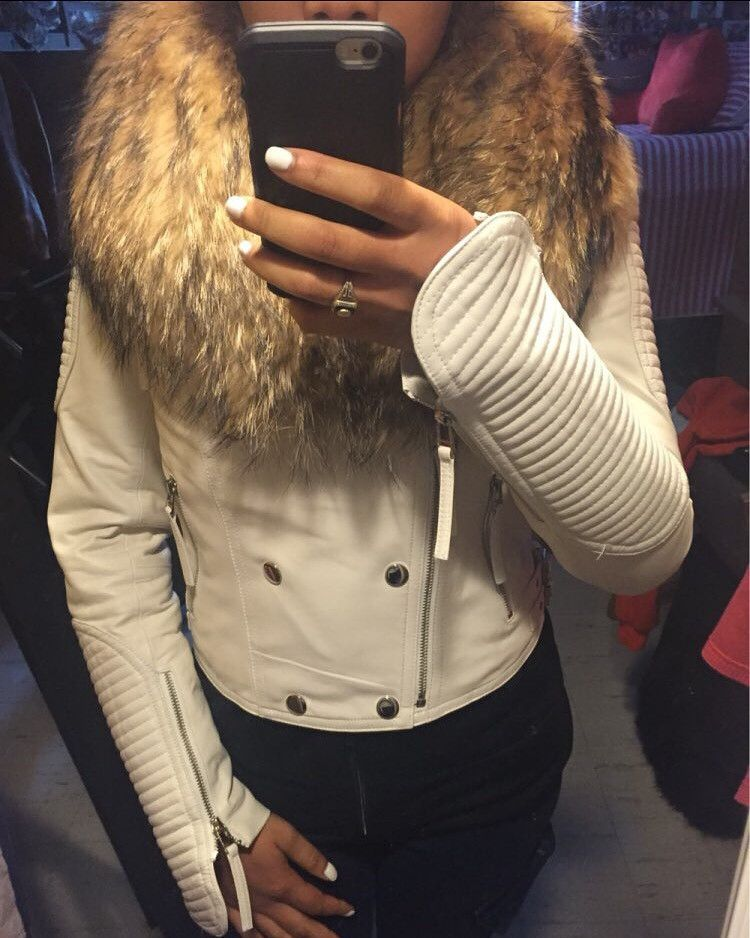 White Fur Collar Leather Jacket | White fur, Fur collars and ...
