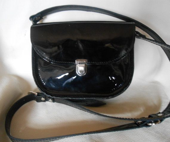 Leather handbag Italian leather Varnish black от Larasmagic, $80.00
