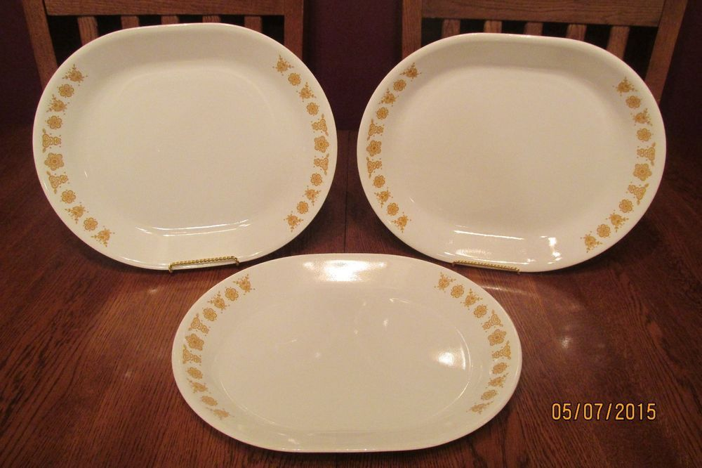 Set Of Three (3) Vintage Corelle Butterfly Gold Serving Platters **Excellent**