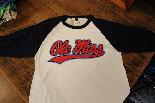 a36d0980ff5 Ole Miss with powder blue outline baseball tee. Tultex  24.95
