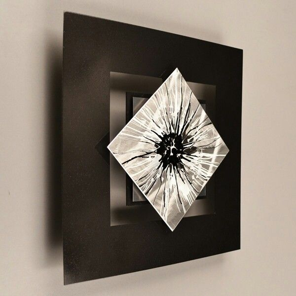 """""""D12P perseptions series"""" black and white wall modern abstract metal art painting.  Can't wait to get it."""