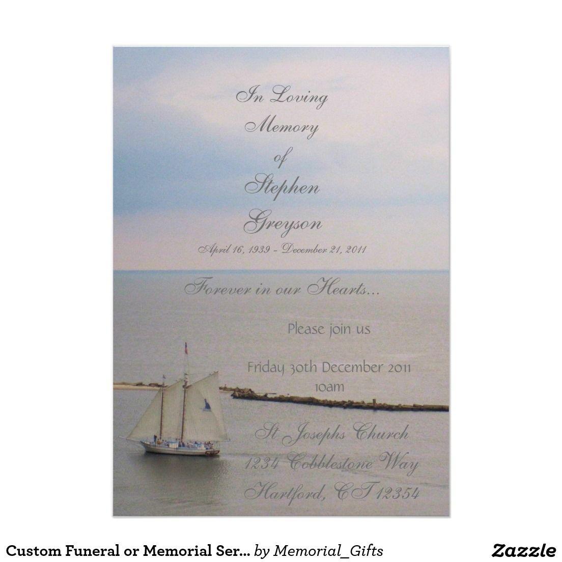 "custom funeral or memorial service announcement "" x "" invitation, invitation samples"