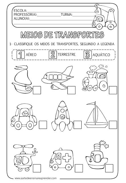 Populares Atividade pronta - Meios de transportes | Transporte, Ensinar e  XE47