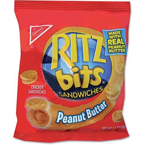 Ritz Bits, Peanut Butter, 1.5oz Packs, 60/carton