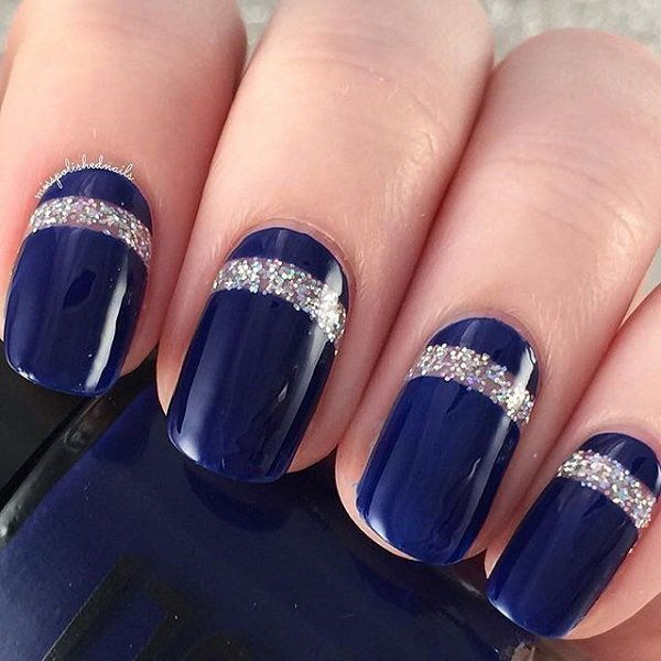 Uñas Acrilicas Largas Azules Con Plata Blue Long Nail Art With