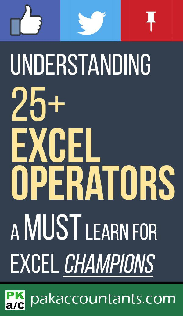 Understanding Excel Operators - Guide Learning, Business help and
