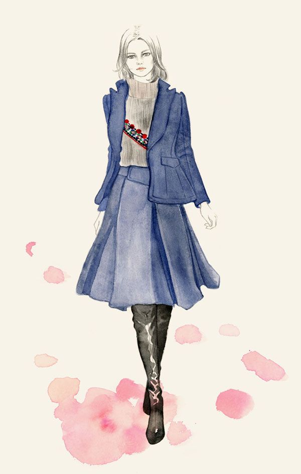 """""""The proportions of this Altuzzara skirt and preppy blazer feel very fresh and the femme fatale over-the-knee boot make an interesting juxtaposition."""""""