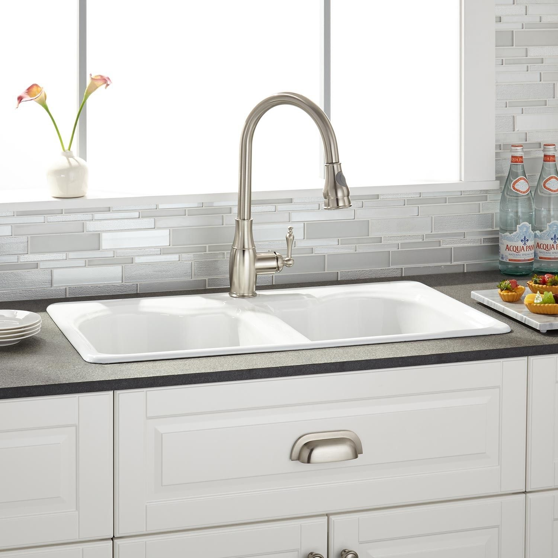 32 Berwick White Double Bowl Cast Iron Drop In Kitchen Sink Kitchen Drop In Kitchen Sink Cast Iron Kitchen Sinks Farmhouse Sink Kitchen