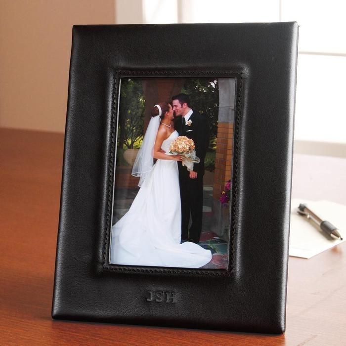 This beautiful leather frame holds a favorite 4x6 photo. Personalize with your initials, too! Crafted from beautiful Nappa leather, this high-quality item features fine details, focusing on superior stitching and neatly turned corners. It can also be personalized with up to 3 initials.