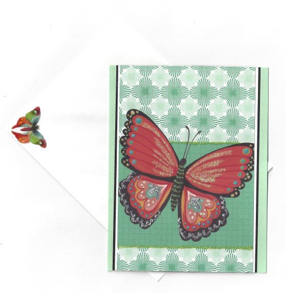 Handmade Graceful Glittery Butterfly Card  by beautifullygreen