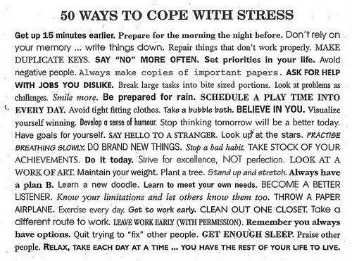aka 50 ways to keep my anxiety at bay....