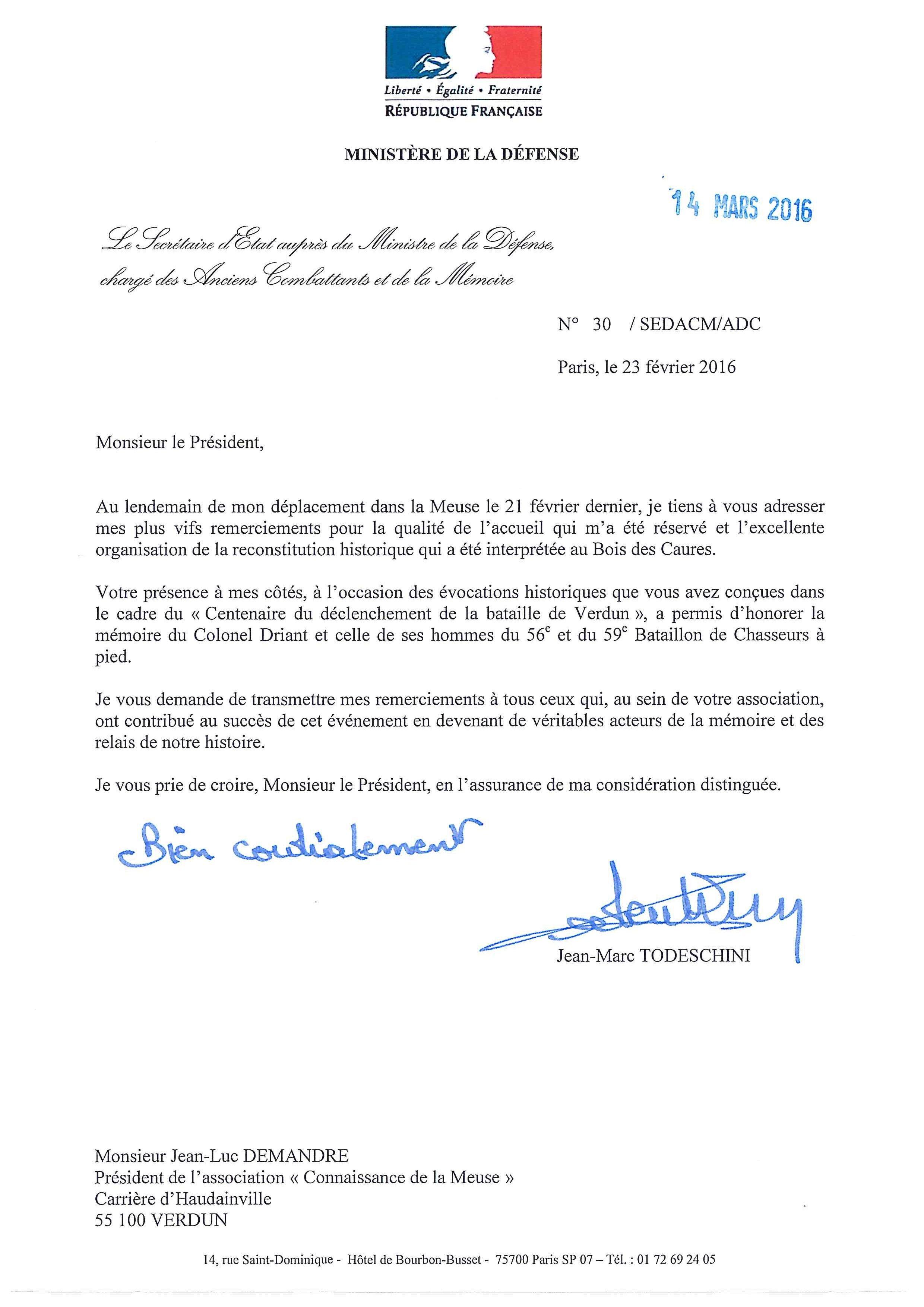 Lettre De Remerciements Du Secrétaire D Etat Auprès Du