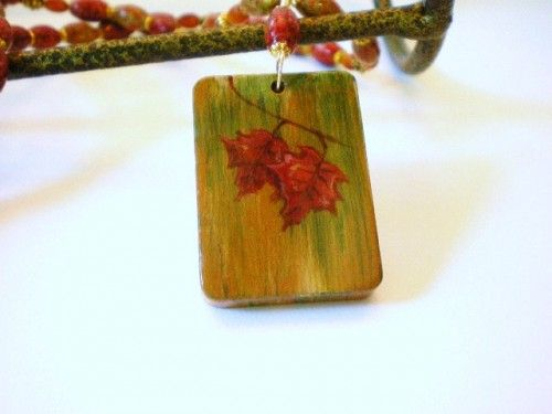 Autumn Leaves Hand Painted Pendant with Fall Colors Painted Wood Beads