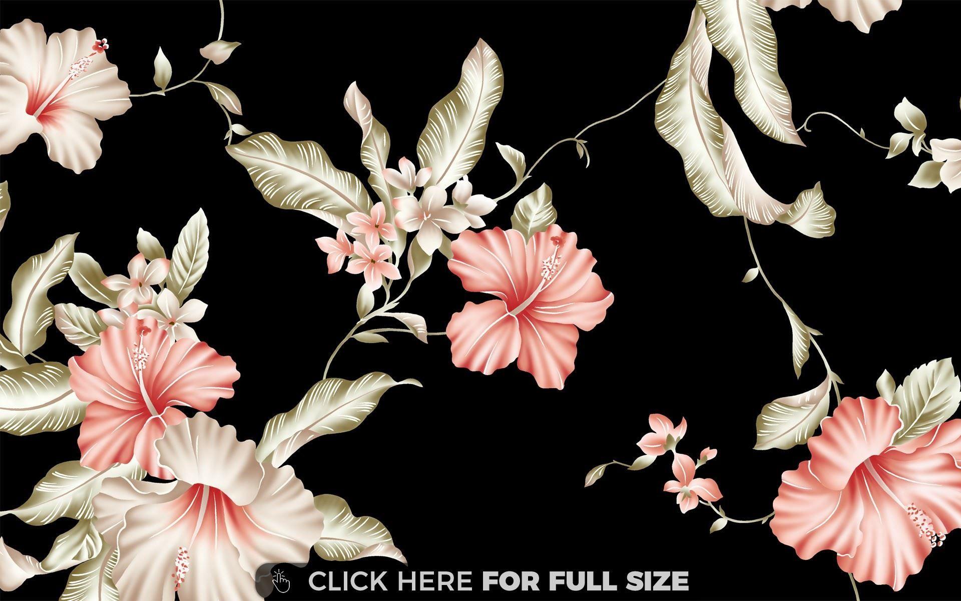 hibiscus pattern wallpaper | desktop wallpapers | pinterest