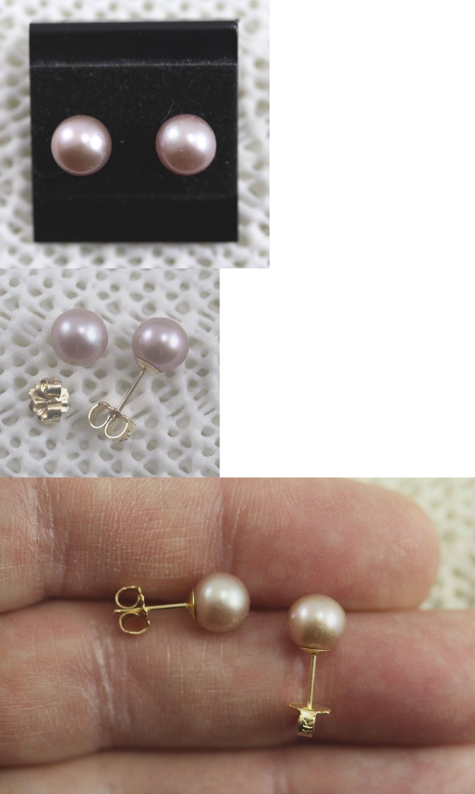 pearl studs view pearls stud freshwater earrings double sided itm amj gold
