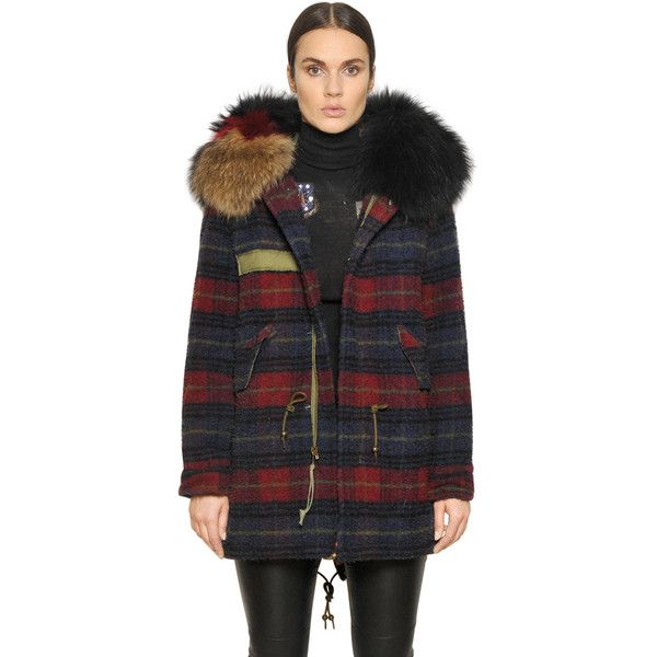 Mr&mrs Italy Women Check Boiled Wool Parka With Murmansky featuring polyvore, women's fashion, clothing, outerwear, coats, fur trim hooded coat, hooded parka coat, boiled wool coat, fur trim coats and hooded coat