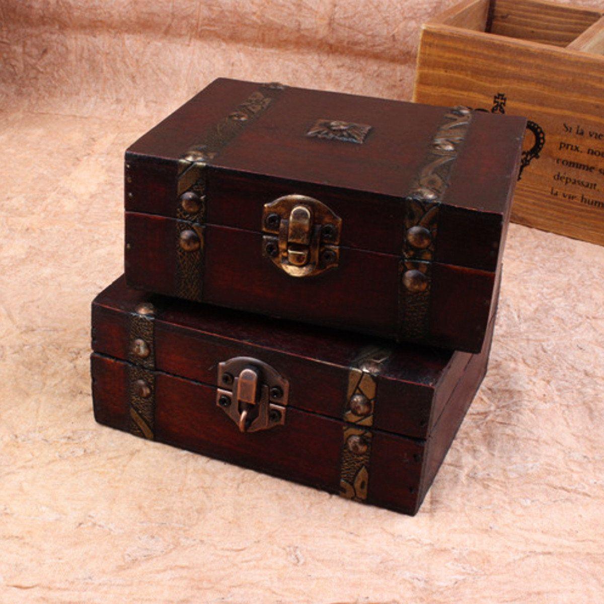 Vintage Jewelry Lock Necklace Bracelet Storage Organizer Woodens Cases  Gift Box