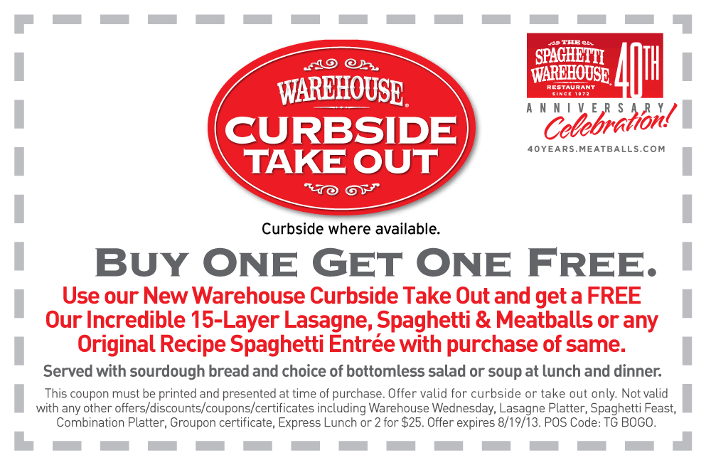 Pinned July 31st Second Take Out Lasagna Or Spaghetti Free At Spaghetti Warehouse Coupon Via The Coupons App Printable Coupons Coupons Restaurant Coupons