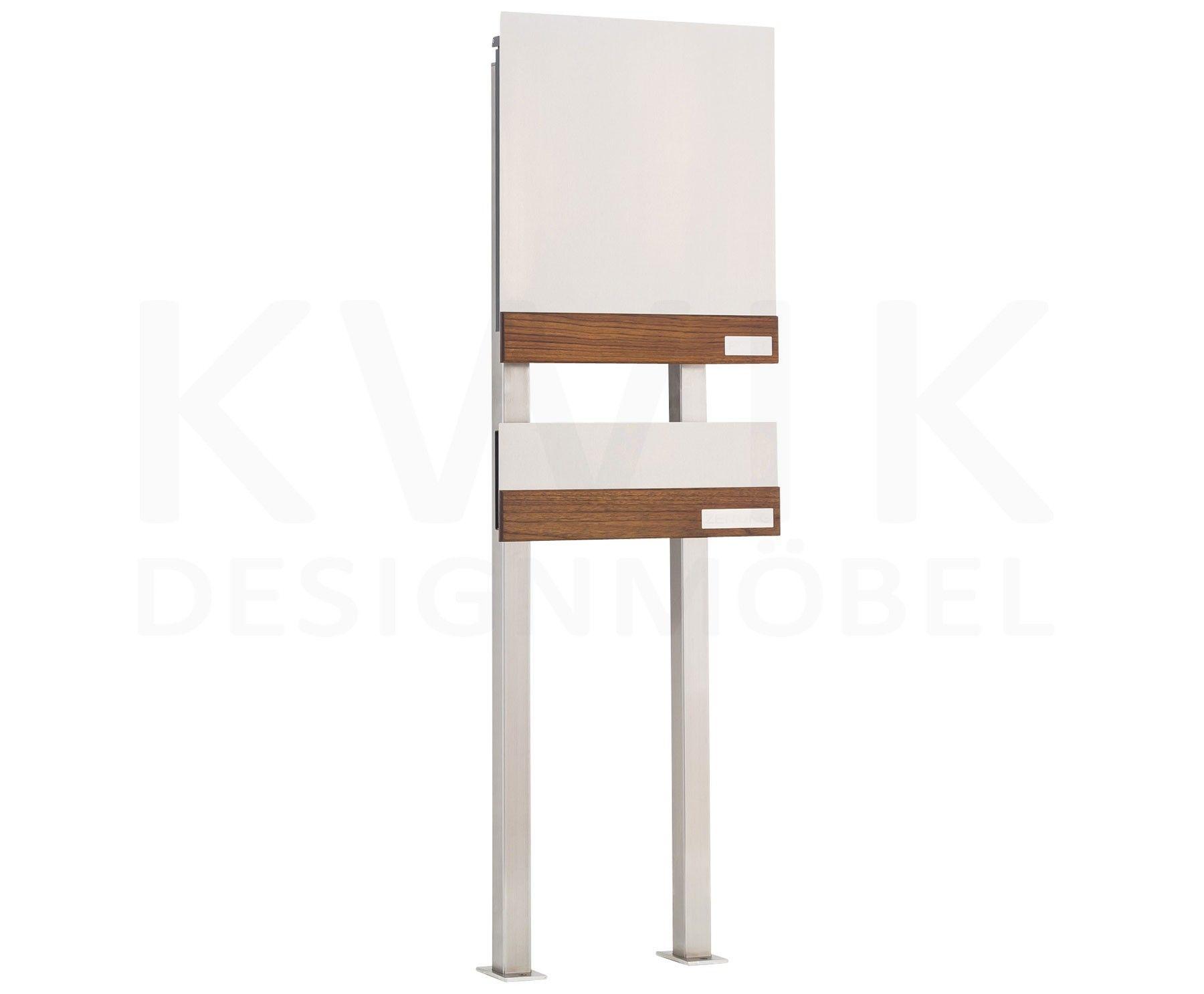 Küchen-designmöbel standbriefkasten siljan teak aus edelstahl u kwik designmöbel  haus