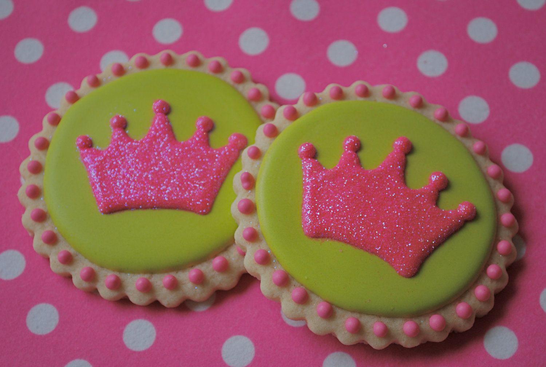 Preppy Pink & Green Princess Crown Decorated Sugar Cookies