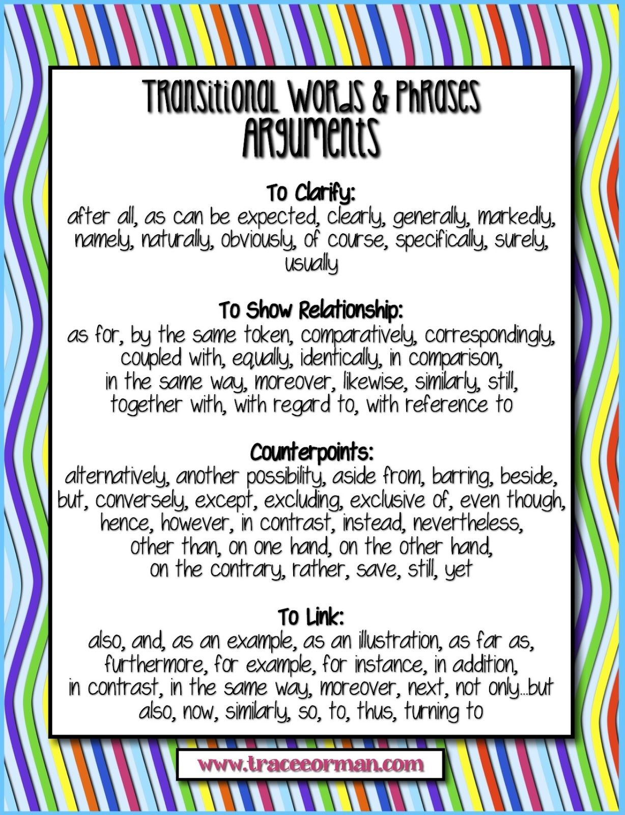 anchor chart for transitional words and phrases to use for   anchor chart for transitional words and phrases to use for writing arguments commoncore