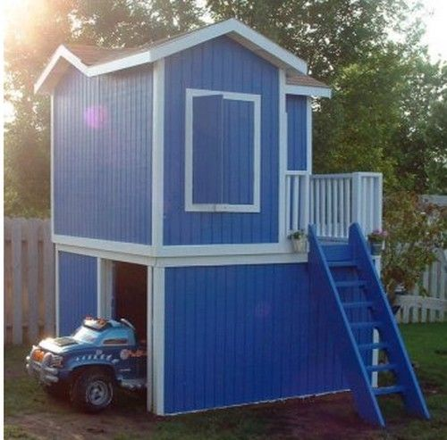 with garage playhouse pinterest playhouses play