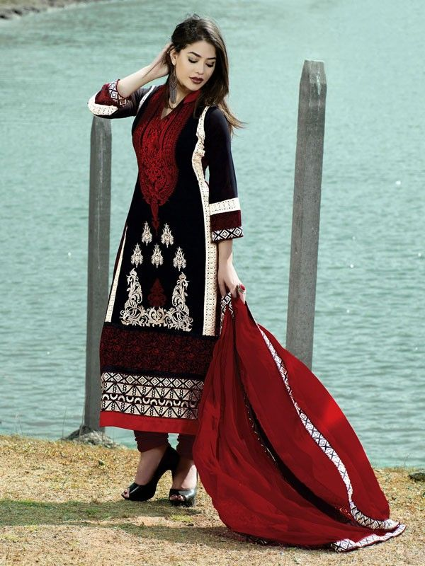 Adorable Black And Maroon Coloured Georgette Dress Material - Salwar Suits