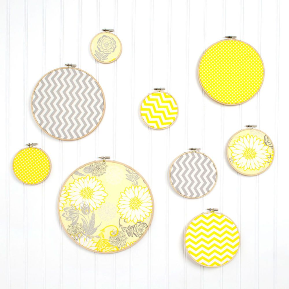 Create bright and easy wall art using fabric and embroidery hoops ...
