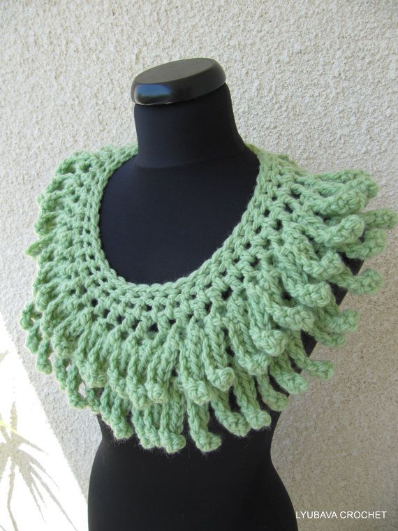 "Crochet Scarf Tutorial Pattern Pdf File, Gorgeous Crochet Scarf Lariat PDF ""Unique Chunky Fringe"", Lyubava Crochet Pattern number 48. via Etsy."