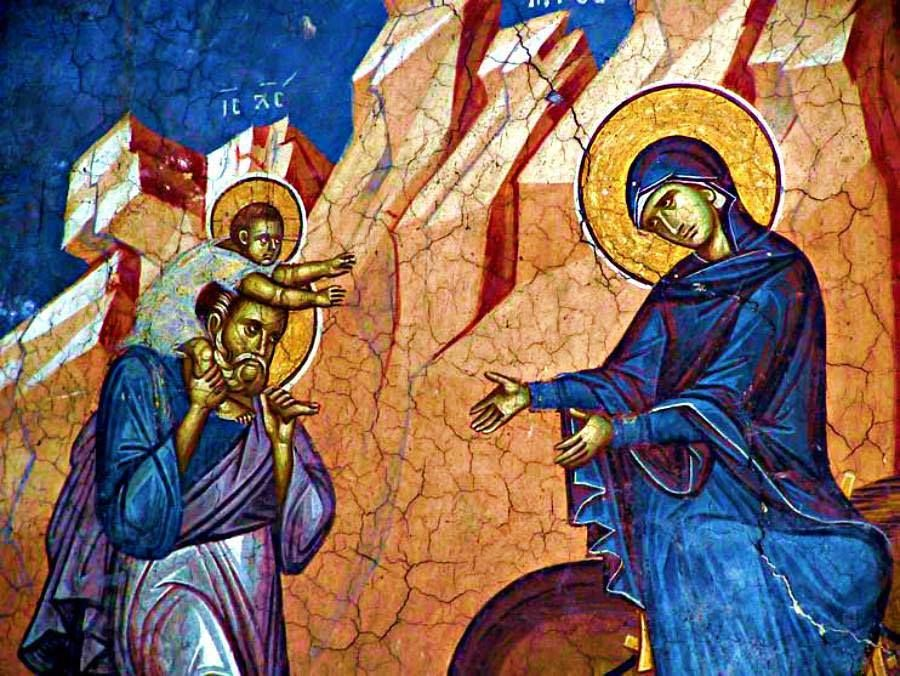 """""""The Christ Child, riding on the shoulders of his foster-father Joseph, reaches out to His Mother in a 14th-century fresco of the Flight into Egypt at the Decani Monastery in Kosovo."""" [Via His Eminence Metropolitan Savas of Pittsburgh]"""