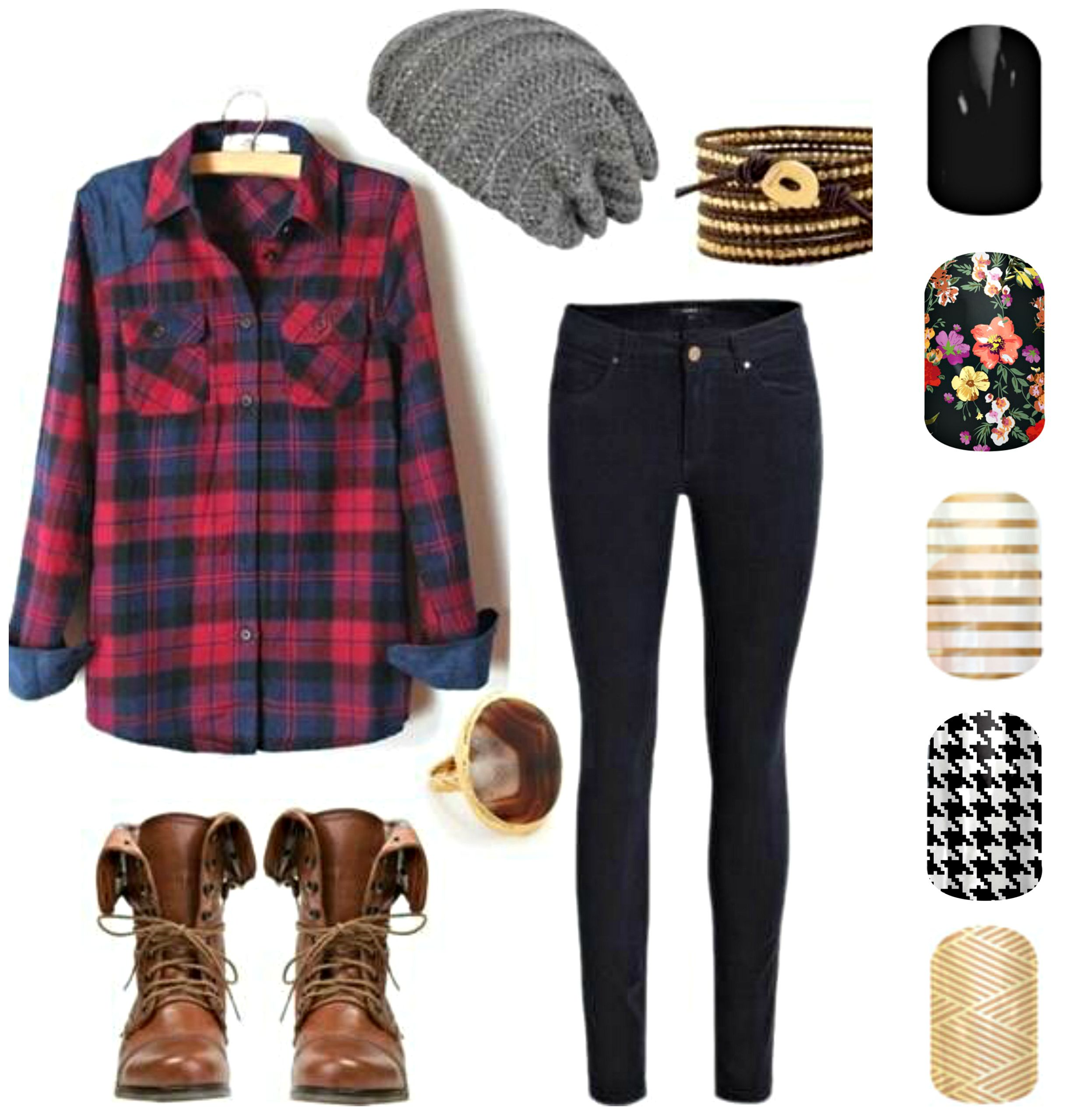 Flannel with jeans and boots  Fall Inspiration with Jamberry Nails missanessasjams