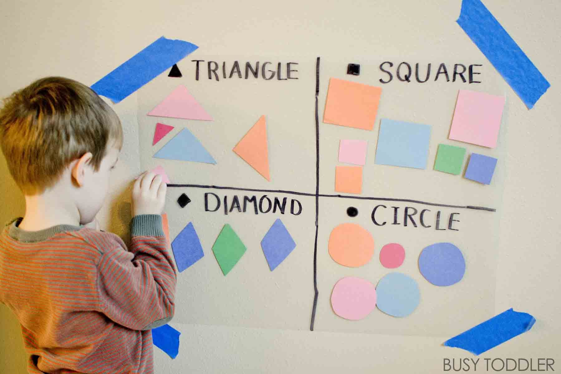 Sticky Shape Wall | Simple math, Math activities and Maths