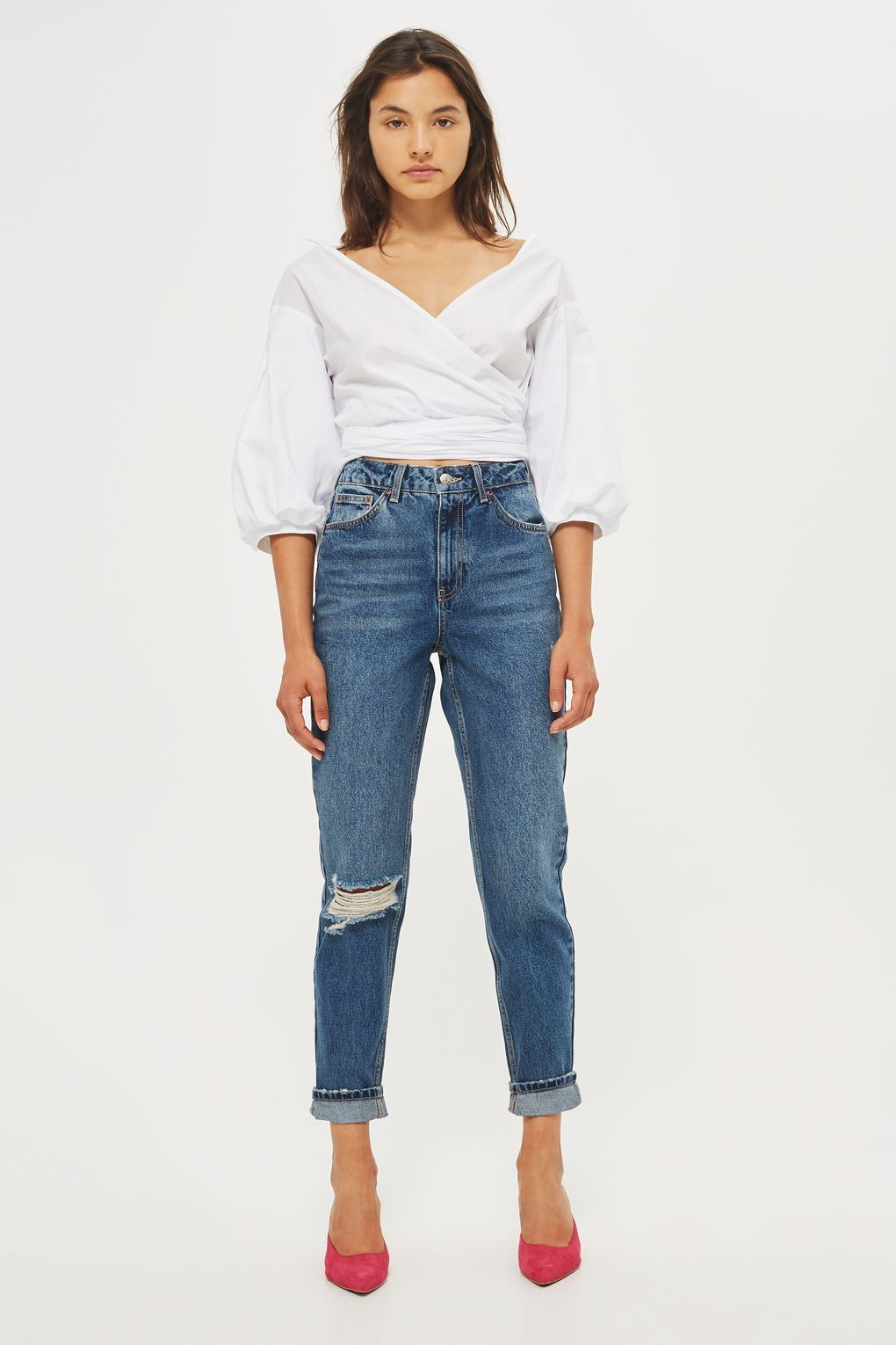 64a6036b4ce MOTO Dark Blue Ripped Mom Jeans | Clothes | Ripped mom jeans, Mom ...