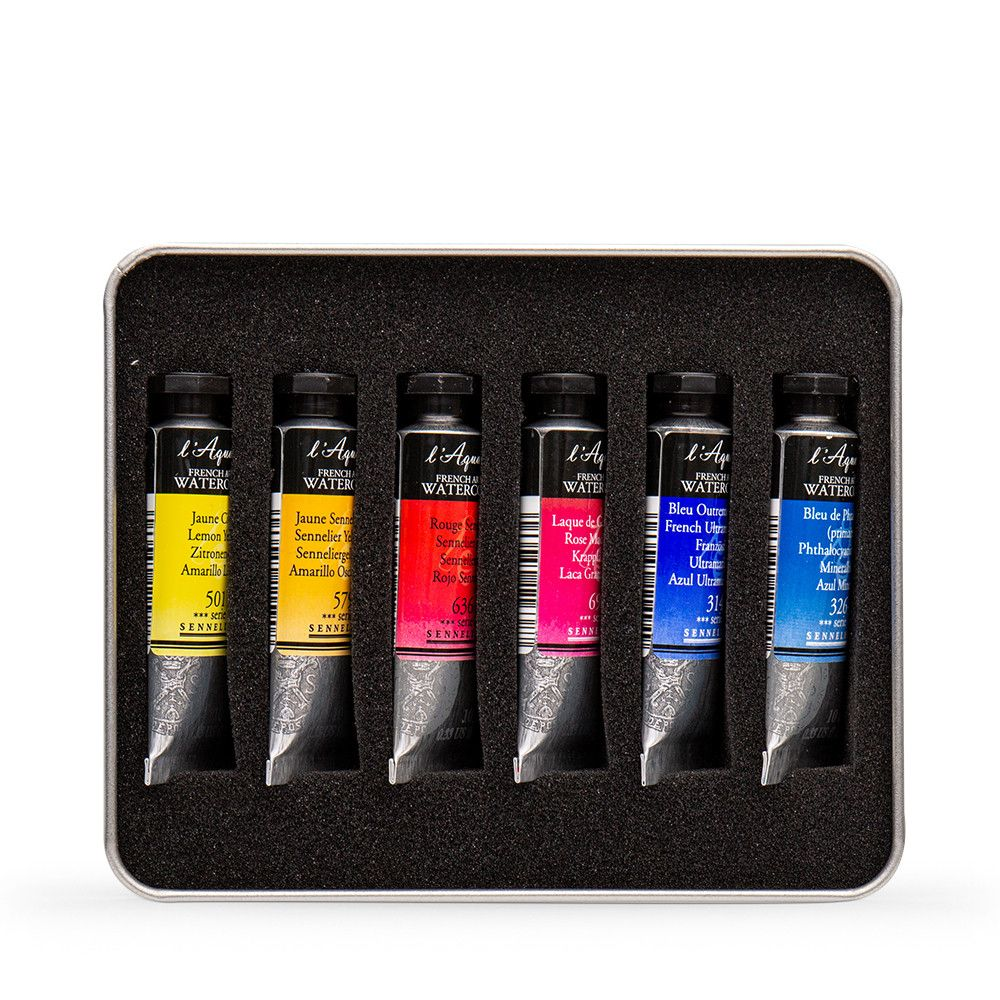 Billy Showell Sennelier Watercolour Paint 10ml Basic Colour Set Of 6