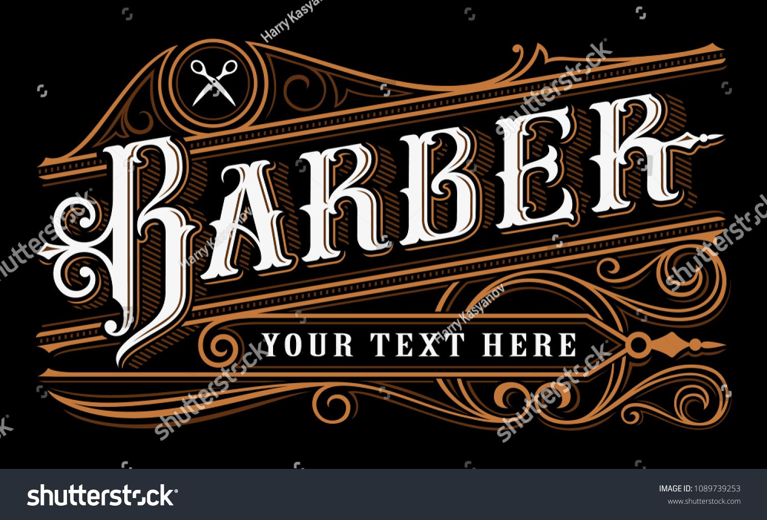 Barber Lettering Design Vintage Logo Of Barbershop On Dark Background All Objects Are On The Separate Group Barber Shop Vintage Logo Lettering Design