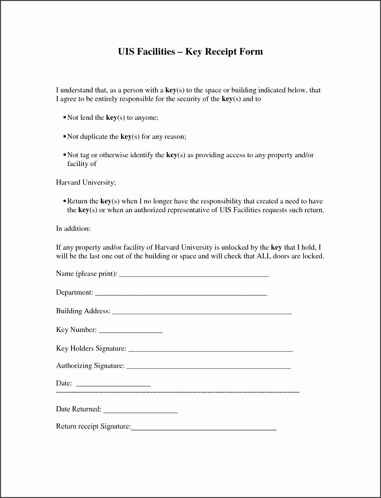 employee key agreement form lovely 10 free printable. Black Bedroom Furniture Sets. Home Design Ideas