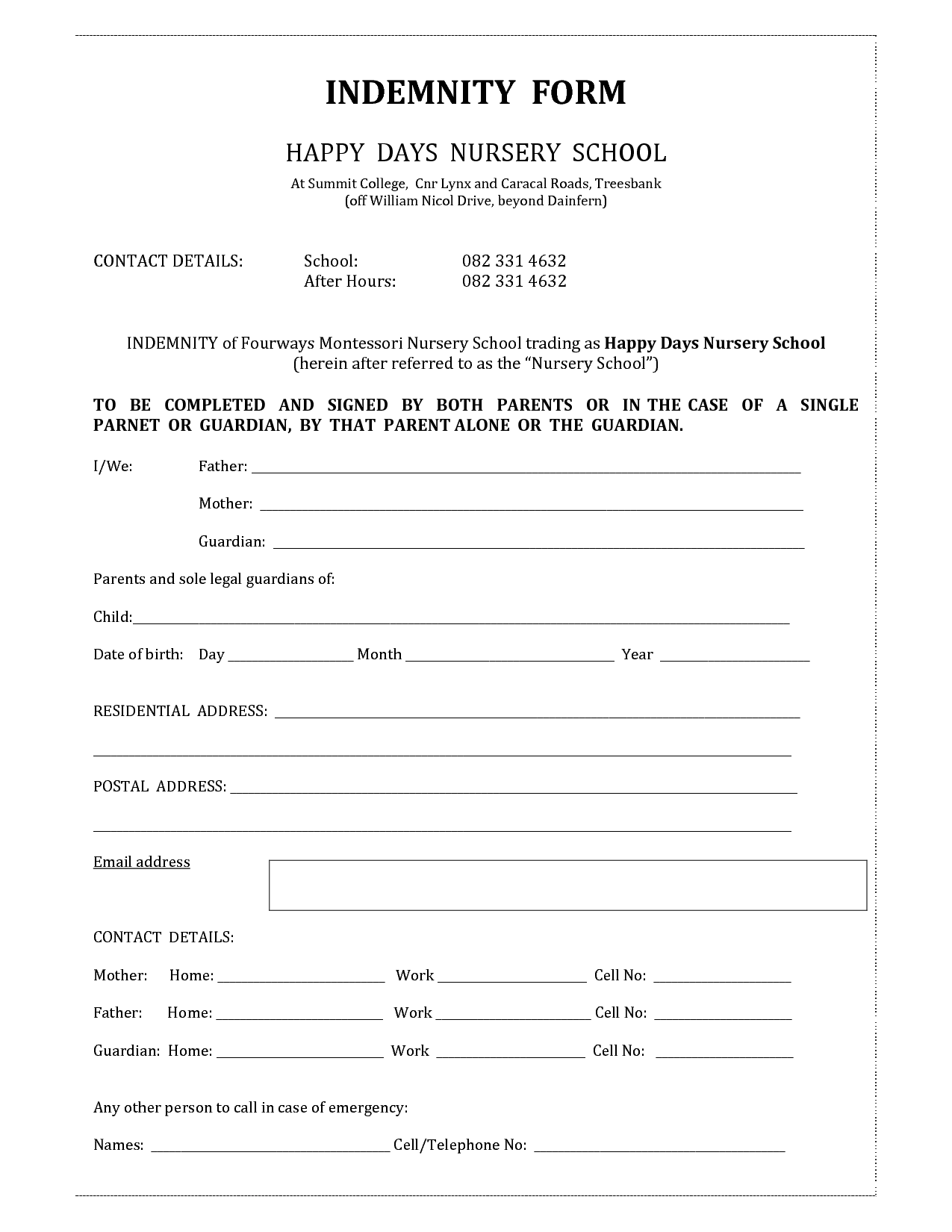 Superior Beauty Indemnity Form Template   Invitation Templates   Indemnity Form To Indemnity Template