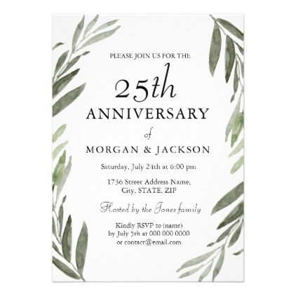 Green leaf wreath 25th wedding anniversary invite 25 wedding green leaf wreath 25th wedding anniversary invite wedding invitations cards custom invitation card design marriage stopboris Choice Image