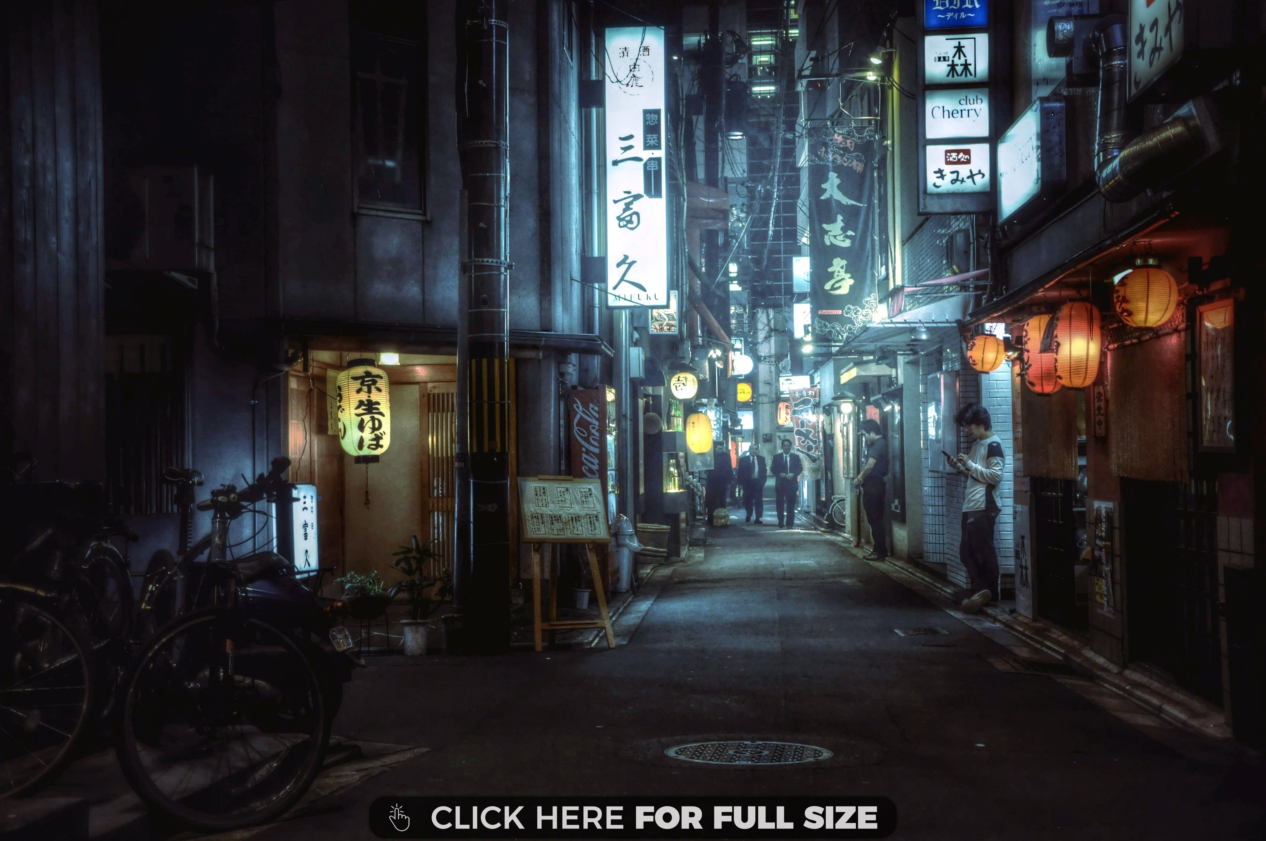 Japanese Alleyway Wallpaper Neon Photography R Wallpaper Alleyway