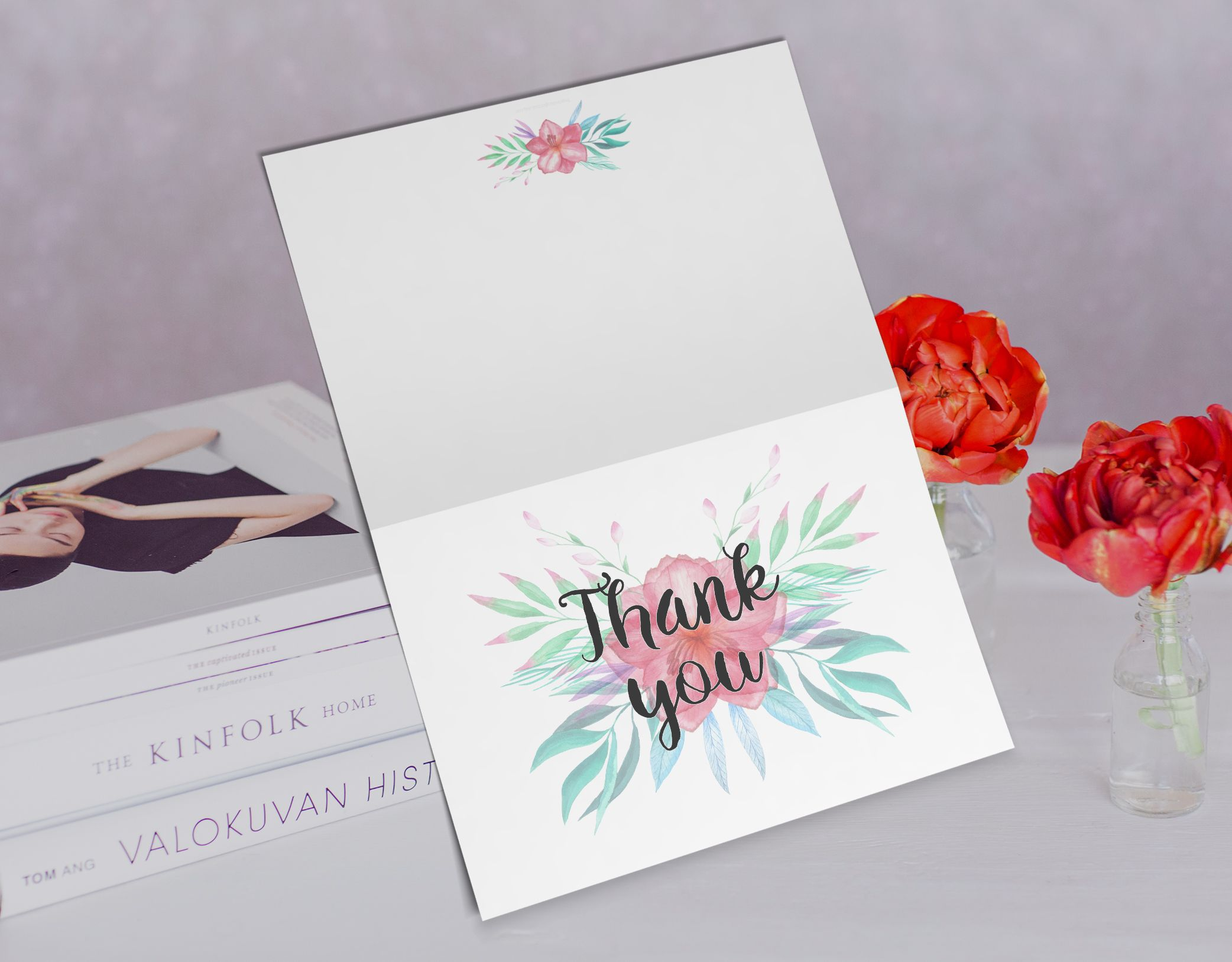 6 pack of thank you cards in english and spanish, totaling