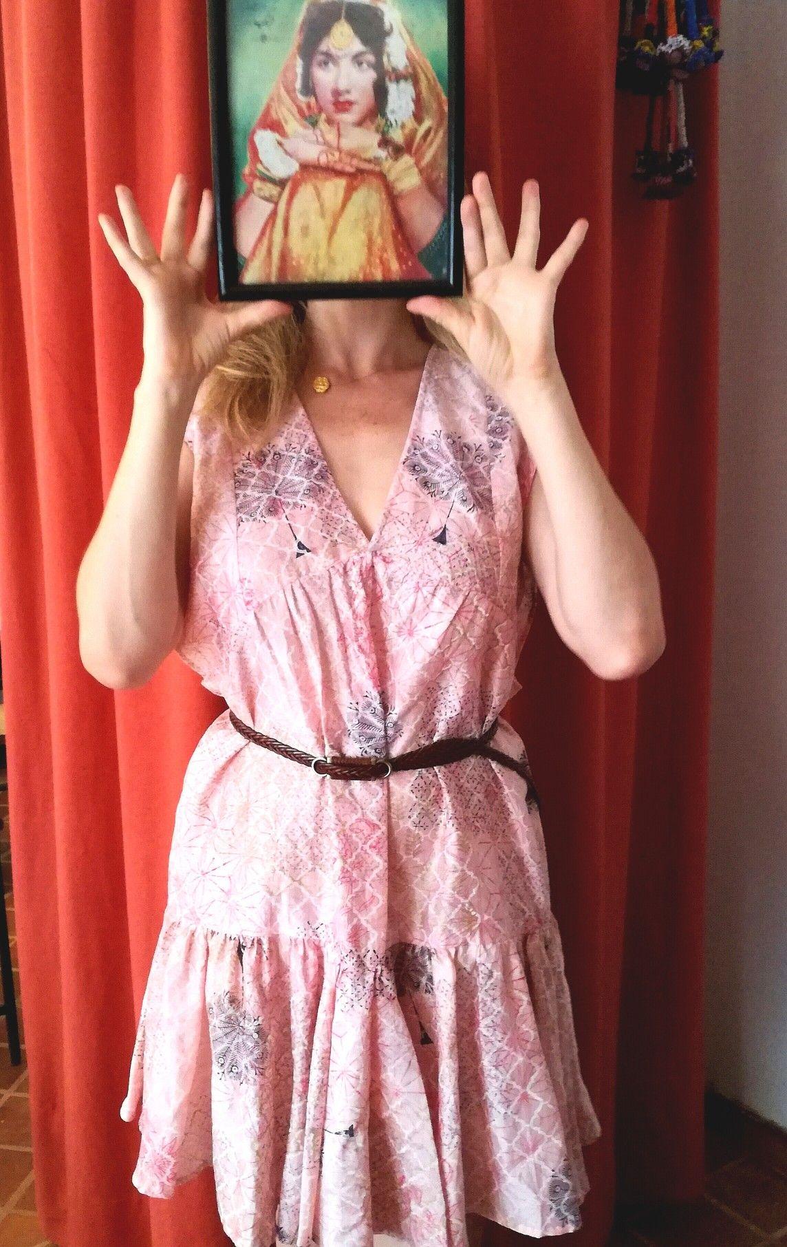 Boho summer dress beautiful blockprint fabric silk cotton