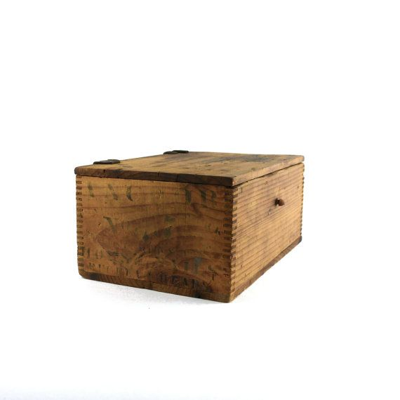 Wooden Hardware Dresser Box with Leather Hinges