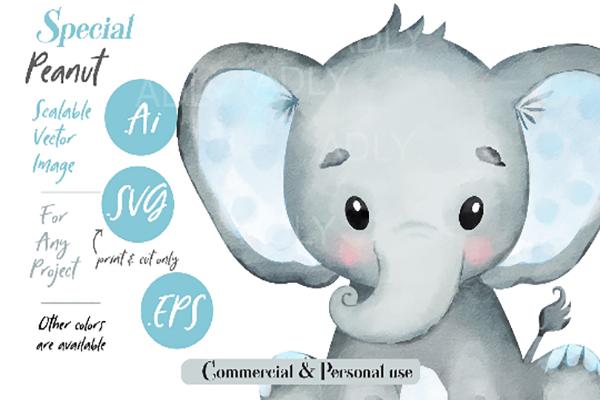Watercolor Elephant Vector, Svg,eps (Graphic) by adlydigital