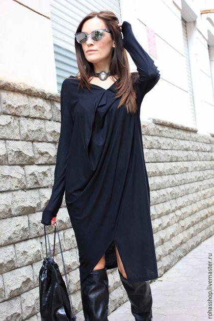 05efdb97e08 Вечернее платье Платье черное платья стильное платье длинное платье  свободный стиль платье на выход повседневное платье ассиметричное платье…